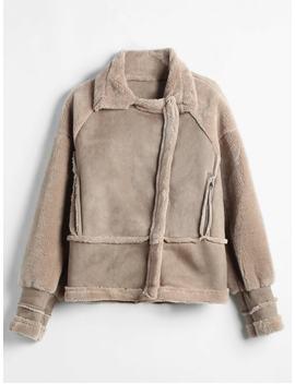 Zip Pockets Faux Sheepskin Coat   Dark Khaki M by Zaful