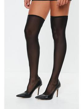 Black Mesh Over The Knee Sock Boots by Missguided