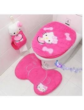 3pcs/Set Cute Hello Kitty Plush Pink Toilet Cover Bathroom Floor Mat Rug Sets Foot Pad Kitty Tissue Case  by Sexe Mara