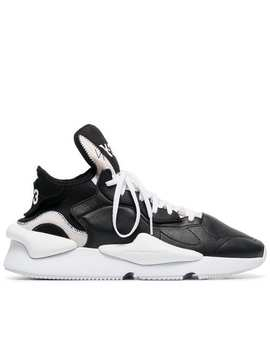 Y 3black And White Kaiwa Leather And Neoprene Sneakershome Men Y 3 Shoes Low Tops by Y 3