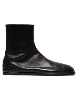 Maison Margiela Black Tabi Leather Ankle Boots Home Men Maison Margiela Shoes Boots by Maison Margiela