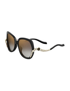 Square Acetate Sunglasses W/ Crystal Wave Arms by Neiman Marcus
