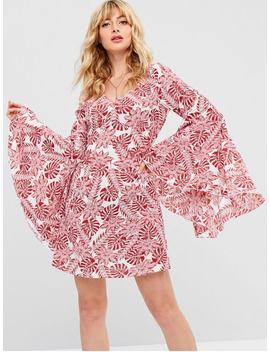 Zaful Tropical Print Bell Sleeve Dress   Red L by Zaful