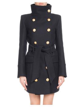 Funnel Collar Double Breasted Belted Wool Cashmere Coat by Balmain