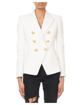 Double Breasted Golden Button Classic Blazer by Balmain