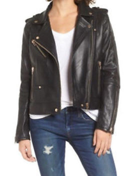 Blank Nyc   Real Leather Moto Jacket In The One (Black) Women's Coat by Blank Nyc