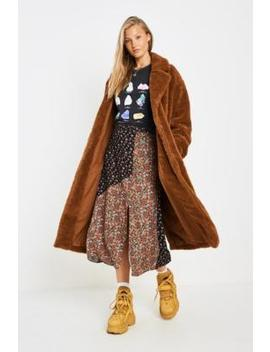 Uo   Manteau Pelucheux Long Marron by Urban Outfitters