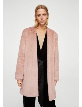 Shoulder Pad Faux Fur Coat by Mango