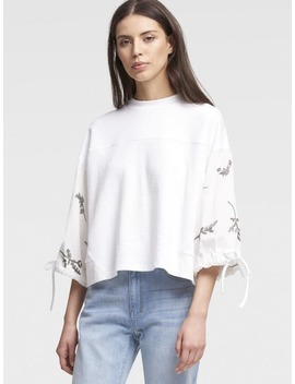 Pullover With Embroidered Sleeves by Dkny