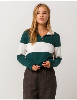 Full Tilt Color Block Half Zip Womens Crop Sweatshirt by Full Tilt