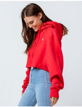 Champion Reverse Weave Red Womens Crop Hoodie by Champion