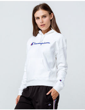 Champion Reverse Weave Chain Stitch Logo White Womens Hoodie by Champion