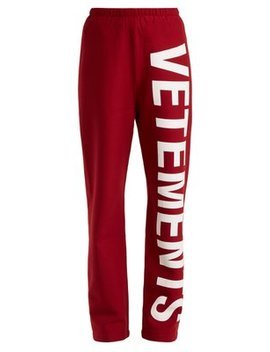 Logo Print Cotton Blend Jersey Track Pants by Vetements