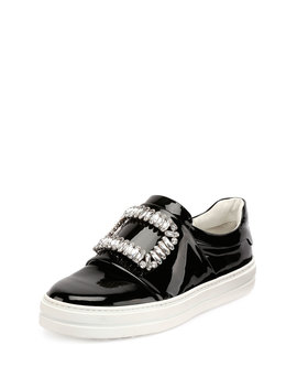 Patent Strass Buckle Sneakers, Black by Roger Vivier