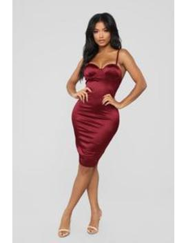 Lisandra Satin Dress   Burgundy by Fashion Nova