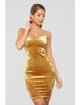 Kiki Velvet Dress   Mustard by Fashion Nova
