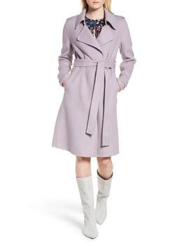 Double Face Wool Blend Wrap Front Coat (Regular & Petite) by Badgley Mischka