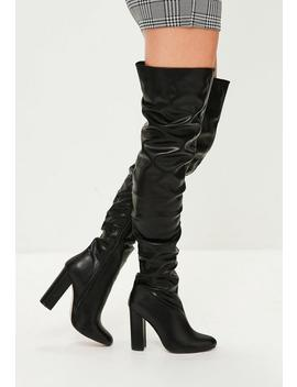 Black Ruched Over The Knee Boots by Missguided