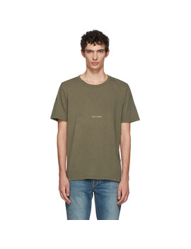 Khaki Rive Gauche Logo T Shirt by Saint Laurent