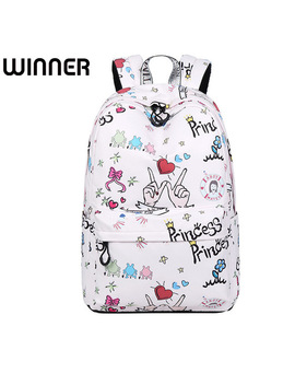 Youth Waterproof Polyester Fabric Women Backpacks Cute Cartoon Pattern Printing College Girls Daily Laptop Mochila by Winner