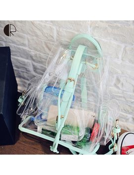 Hot Girls Cute Transparent Backpack Students Pvc School Bag Women Jelly Backpacks Ladies Green/Pink Travel Bags Summer Style by Charlie Robert