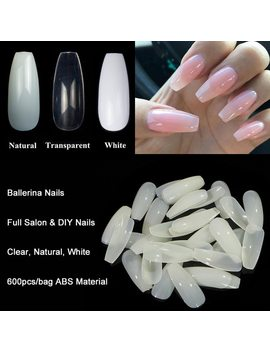600pcs/Bag Ballerina Nail Art Tips Transparent/Natural False Coffin Nails Art Tips Flat Shape Full Cover Manicure Fake Nail Tips by Tkgoes