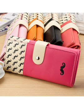 Carteira Feminina Smooth Pu Leather Wallet Cute Mustaches Pattern Purse Clutches Coin Purse Cards Holder Bag For Women Bs88 by Hobbaggo