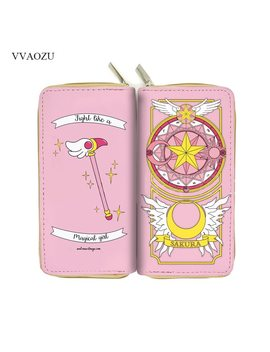 Anime Card Captor Sakura Wallet Cartoon Cardcaptor Sakura Kinomoto Long Leather Female Clutch Money Cards Zipper Cute Bags by Vvaozu