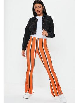 Orange Stripe Flare Pants by Missguided