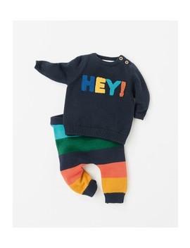 Navy Knit Hey Slogan Jumper And Stripe Legging Set (0mths 2yrs) by Next