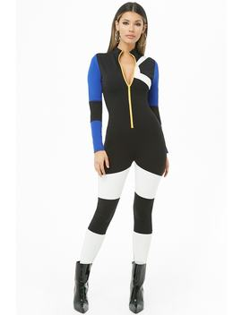 Colorblock Mock Neck Jumpsuit by Forever 21