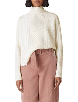 Whistles Merino Wool Cable Funnel Neck Jumper, Ivory by Whistles