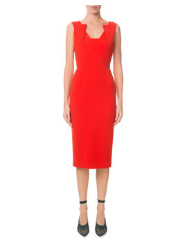 Pleated V Neck Fitted Sheath Dress by Roland Mouret