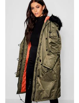 Contrast Lining Faux Fur Trim Longline Parka by Boohoo