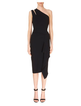 Cutout One Shoulder Asymmetric Drape Fitted Cocktail Dress by Roland Mouret