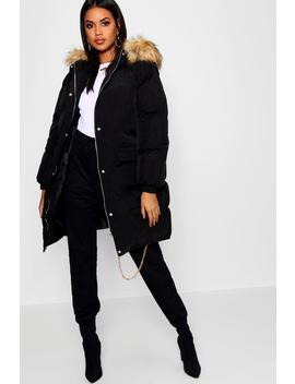 Longline Faux Fur Trim Hooded Puffer Coat by Boohoo