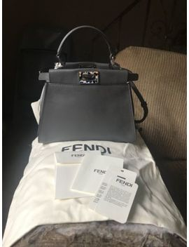 Fendi Mini Peekaboo In Grey Leather Shw Decorative Confetti Bar And Turnlocks by Fendi