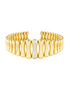 18 K Diamond Bamboo Cuff by Chimento