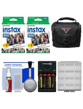 Essentials Bundle For Fujifilm Instax 210 & Wide 300 Instant Film Camera With 40 Wide Prints + Case + Battery & Charger + Cleaning Kit by Fujifilm
