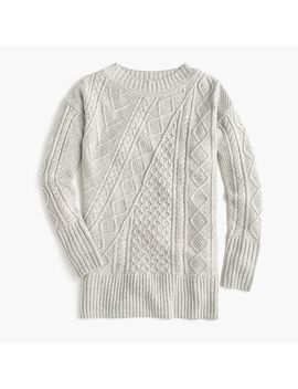 Oversized Patchwork Cable Knit Tunic Sweater by J.Crew