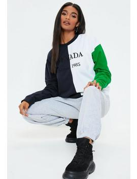 Navy Nevada Colour Block Sweatshirt by Missguided