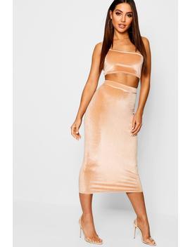 Velvet Midaxi Skirt by Boohoo
