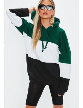 Green Oversized Colour Block Hoodie by Missguided