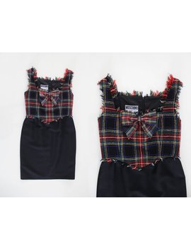 Moschino Couture Vintage 90s Tartan Kilt Dress by Etsy