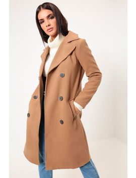 Camel Double Breasted Coat by I Saw It First