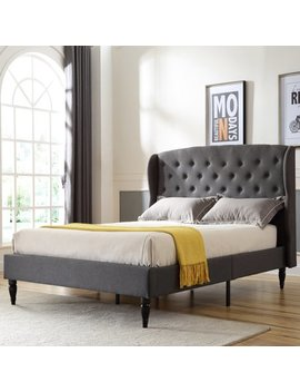 Modern Sleep Coventry Upholstered Platform Bed | Headboard And Metal Frame With Wood Slat Support | Grey, Multiple Sizes by Modern Sleep