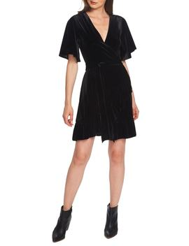 flutter-sleeve-stretch-velvet-wrap-dress by 1state