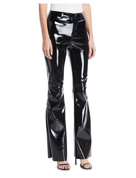 Brent High Waist Pleather Bell Bottom Pants by Alice + Olivia