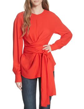 Long Sleeve Wrap Front Stretch Crepe Blouse by Dvf