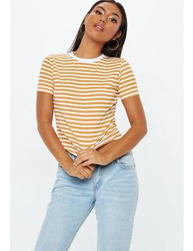 Mustard Striped Fitted T Shirt by Missguided